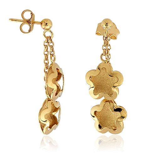 Gioiello Italiano Boucles d'oreilles pendantes en forme de fleurs, en or 14carats jaune