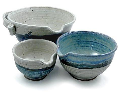 American Made Stoneware Pottery Batter Bowls, 3-Piece Nesting Set