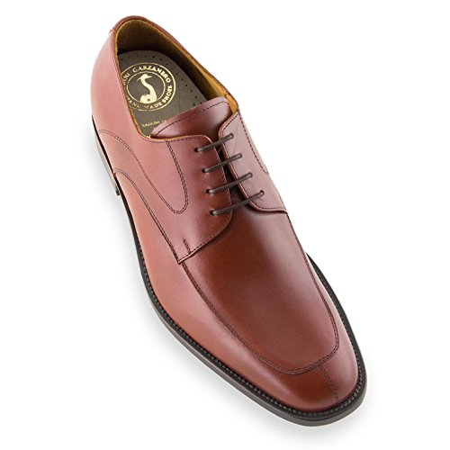 Scarpe con rialzo da uomo che aumentano l'altezza fino a 7 cm. fabbricate in pelle. modello tamigi marrone 39