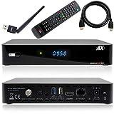 Receptor de satélite AX HD60 4K UHD 2160p E2 Linux 1xDVB-S2X, Incluye Cable HDMI [preprogramado para Astra & Hotbird] Incluye Barra WLAN Anadol