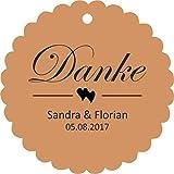 25 Geschenkanhänger Papieranhänger Tags Etiketten Danke Hochzeit Taufe Kommunion Konfirmation Taufe Geburtstag