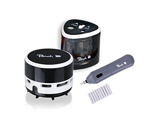 Peach 511015 Vorteils-Set Po102 Elektrischer Universal Anspitzer | Po104 Elektrischer Radierer | PA105 Mini Staubsauger
