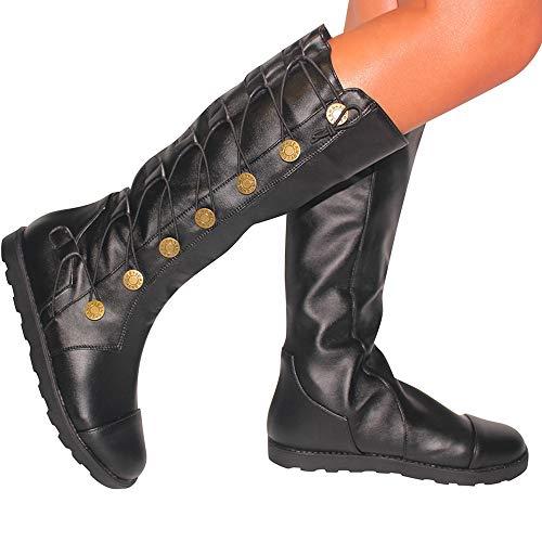 TianWlio Boots Stiefel Schuhe Stiefeletten Frauen Herbst Winter Button Runder Zeh Shoes Vintage Schnüren High Boots Eben Leder Boots Weihnachten Schwarz 40