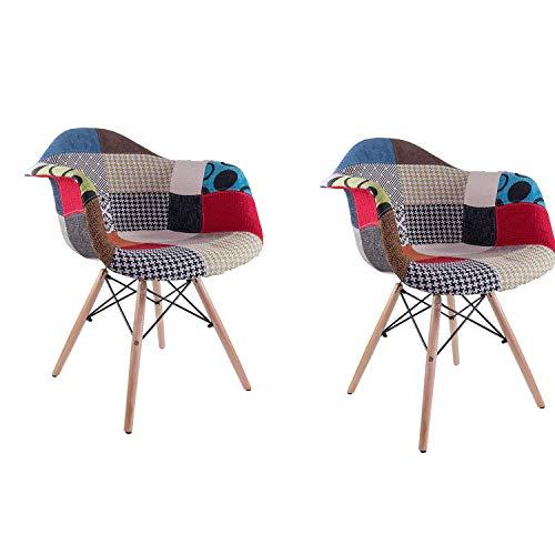 MeillAcc 2er Set Esszimmerstühle Küchenstuhl Wohnzimmerstuhl Design Stuhl mit Rückenlehne Leinen Massivholz Patchwork Mehrfarbig mit Rückenlehne und Armlehne (Bunt)