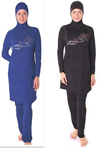 YEESAM Muslimischen Badeanzug - Muslim Islamischen Bescheidene Badebekleidung Modest Swimwear Beachwear Burkini für muslimische frauen Schwarz