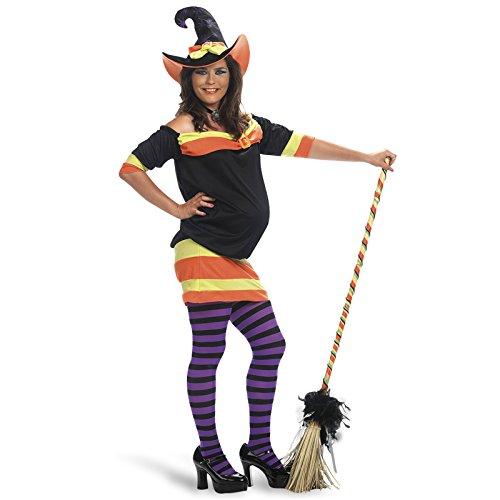 Kostüme Frau Schwangere (Hexenkostüm für Schwangere 2-teilig Kleid mit Hexenhut Umstandsmode -)