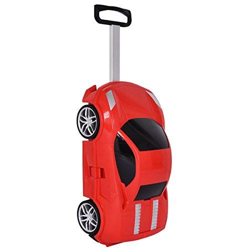 COSTWAY Kinderkoffer Kindergepäck Kinder Reisegepäck Kindertrolley Koffer Trolley 49 x 27 x 21 cm (Rot)
