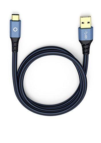 Oehlbach USB Plus C3 150 | Hochwertiges & geschirmtes USB-Kabel | Typ USB-A 3.0 auf USB-C 3.1 | Für Smartphones, Tablets & Notebooks | 1,50 m schwarz/blau