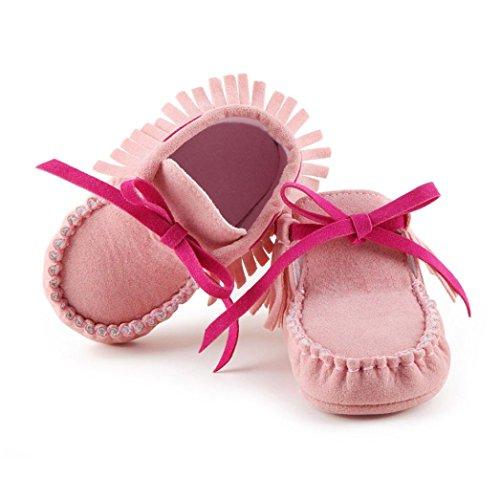Clode® Kleinkind Baby Mädchen Neugeborene Prewalker Aufladung Quasten Schuhe Weiche Sole Rosa