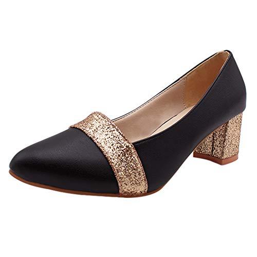 uirend Zapatos de Tacón Mujer - Mujeres Cuero Puntiagudo Bombas Tribunal Zapatos Medio Bajo Tacones Alto Pumps Boda Trabajo Inteligente Fiesta Ocasión Oficina Vestido