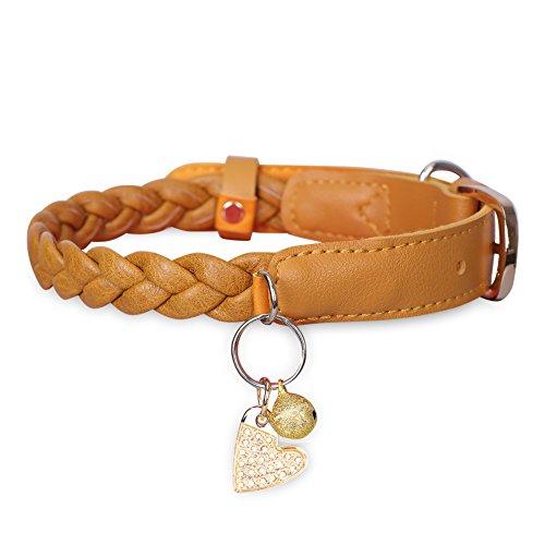 """'Fyy Leder-Hund Hund, Halsketten Halskette klassisch und Standard mit Metall, Dunstabzugshaube von Gold und Etikett, verstellbare Hals 11.2""""-14.7, Halsketten für Katzen Hunde mittleren und kleinen Small braun"""