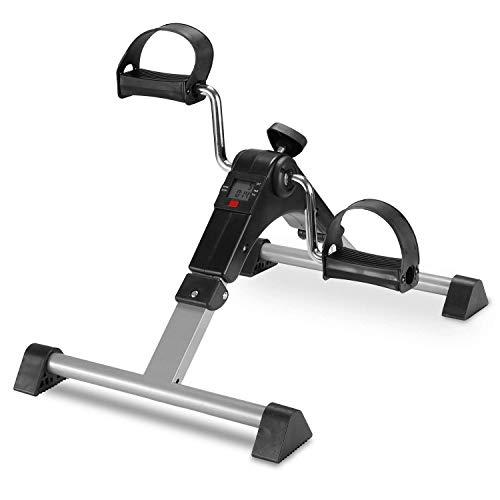 FITODO Pedales Estaticos Ejercicio de Mini Bicicleta con Monitor LCD para Pierna y el Brazo de Rehabilitación (Gris)
