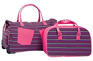 Wheeled Trolley Holdall and Cabin Bag - Multi-striped