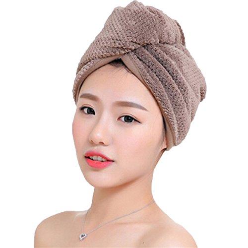 Lalang Mikrofaser Trockene Haarkappe Turban Haartrockentuch Handtuch Kopftuch Haartrockentuch Handtücher (Braun)