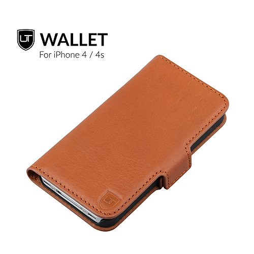 iPhone 4 / 4s Ledertasche Hülle  ** Echtes Leder ** Rundum Schutz ** Premium Business Brieftasche ** Flip Etui by UTECTION® Cognac Braun Iphone 4s Leder