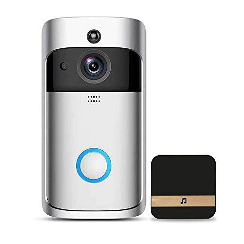 Smart Video Doorbell Set met deurbel, WLAN Intelligente HD 720P draadloze video-deurbel, opnemen, bewegingsdetectie, met 2-weg audio-bewegingssensor en nachtzicht voor Android/iOS app (Bett-sets Full-satin)