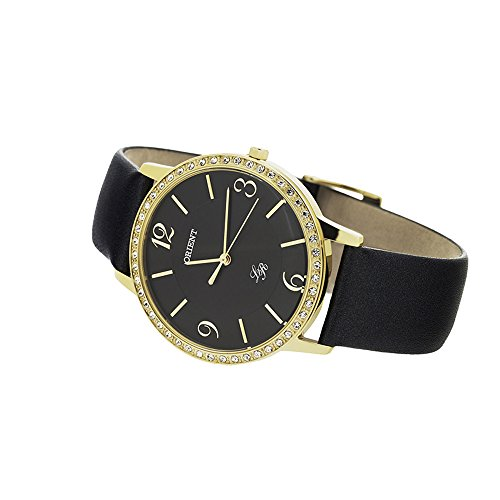 ORIENT WOMEN'S 37MM LEATHER BAND GOLD PLATED CASE QUARTZ WATCH FQC0H003B0