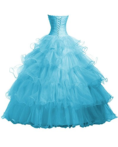 Fanciest Damen Beaded Organza Ruffles Ball Kleider Quinceanera Dresses Blue Light Yellow