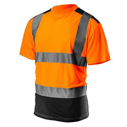 Profi Warnschutz T-Shirt Kurzarm Arbeitsshirt Kurzarmshirt Warnshirt Arbeitshemd orange gelb S-XXL (orange, L) -