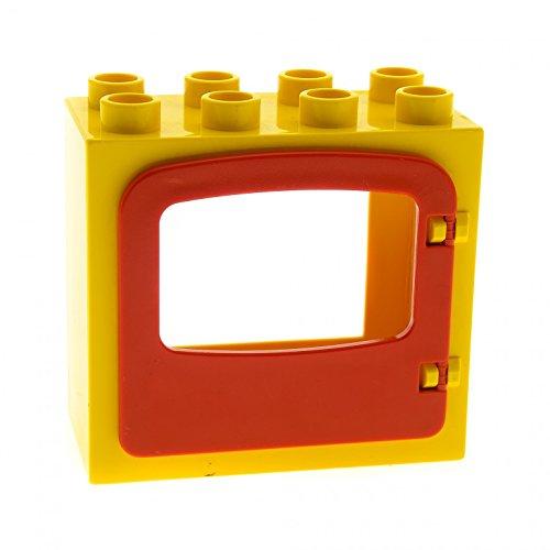 1 x Lego Duplo Haus Fenster Tür Rahmen gelb flach mit Clip Halter Rückseite Ausschnitt gross 2x4x3 Klappe Loch gross rot 4247 4253 - Große, Flache Rahmen