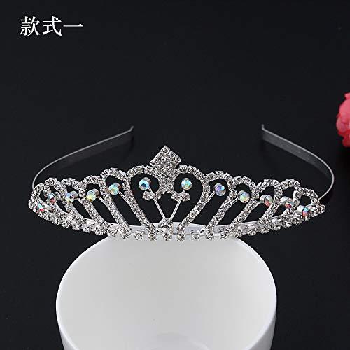 JWTS Festival Kopfschmuck Prinzessin Diamond Crown Hoop Krone Mädchen Performing Hair Pin Schmuck, Silber Stil 1