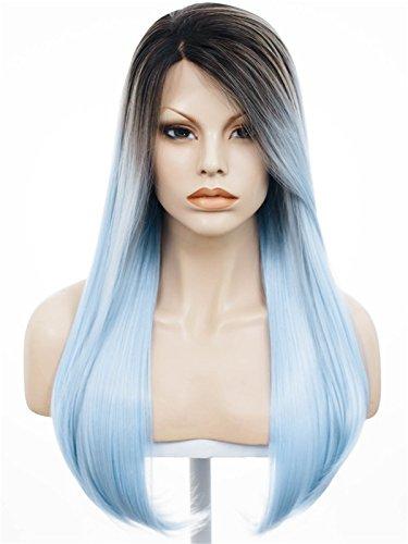 Imstyle soyeux droites Texture foncé ombré Bleu clair Couleur synthétique Lace Front Perruques résistant à la chaleur Cosplay Perruques