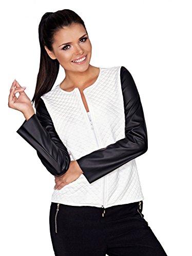 Capri Moda - Damen Reißverschluss Jacke Gesteppt Design Kunstlederärmeln - A110