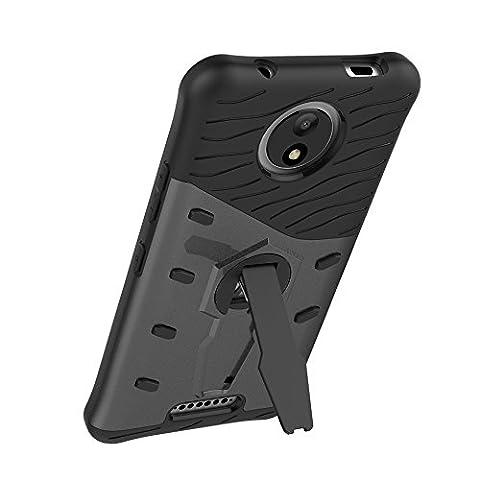 UKDANDANWEI Motorola Moto C Plus Étui Coque - 2 Couche Holster Combo Antichoc [Protection Goutte]360 degrés support de rotation Soutien Hard Cover Case pour Motorola Moto C Plus - Noir