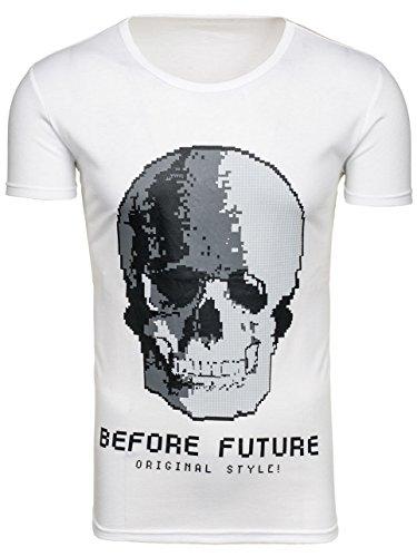 BOLF Herren T-Shirt Tee Kurzarm Rundhals Slim Fit Print Party Shadel J.STYLE S015 Weiß