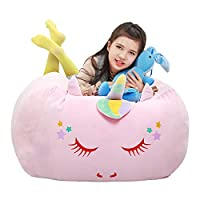 "Stuffed Animal Storage Bean Bag Cover, Extra Large Toy Organizer Velvet Extra Soft Stuffie Seat with 31"" Double Head Zipper for Kids Toys Blankets, Towels & Clothes Household Supplies"