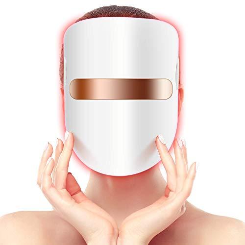 Hangsun Akne Behandlung Maske Anti-Akne Lichttherapie LED Gesichtsmaske FT350 Photonen-Therapie Gegen Akne, Hautverjüngungs Reduziert Pickel und Entzündungen mit Blau/Rot/Orange Licht