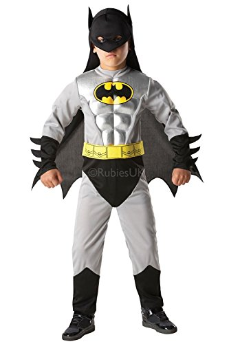 Kostüm Superheld Material - Rubie's 3881823 - Batman Metallic Deluxe Child, L