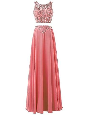 Solovedress Frauen Chiffon Perlen lange Abendkleid zwei 2 Stück Promkleid Partykleid Brautjungfern(Koralle, Eur50)