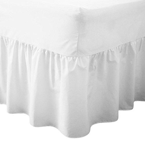 Luxe Drap-housse/Tour de lit en polycoton teint uni – Tissu doux, Blanc, Super king