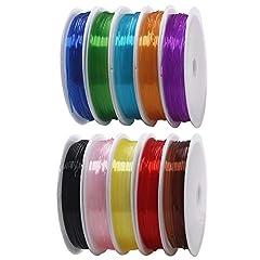 Idea Regalo - KINDPMA 10 Rotolo di Filo Elastico Braccialetti Trasparente 0,8MM Filo Elastico Colorato per Braccialetti Collane Bracciali Perline Gioielli Fai da Te 10 Colori 8M