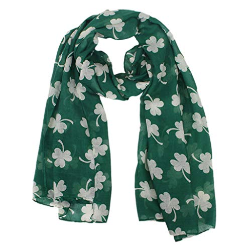 Four-leaf Printed Scarves,Amyline St. Patrick's Day Green Irish Women Scarf Clover Shawl Wrap Scarves