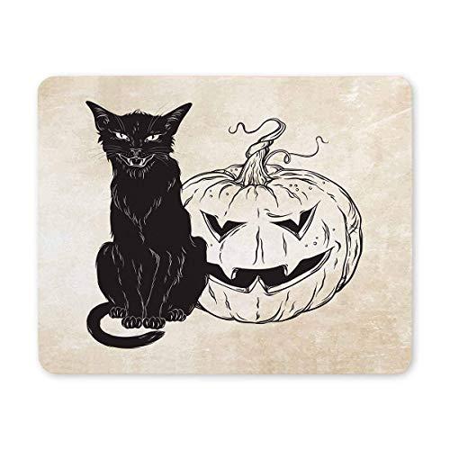 Schwarze Katze, die mit Halloween-Kürbis über altem Schmutz-Papier-Rechteck-rutschfestem Gummi-Mousepad, Spiel-Mausunterlage-Mausunterlage für Büro-Zuhause-Frauen-Mann-Angestellt-Chef-Arbeit sitzt