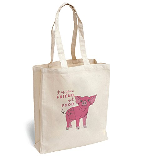 Preisvergleich Produktbild small pink pig farm animal I am your friend not food Canva Bag Tote Handbag Shoulder Bag Sports Leisure Picnic