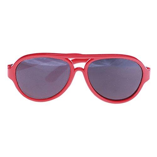 Homyl 1 Paar Puppe Sonnenbrille Brillen für 18'' Puppe Kostüm Zubehör - Rot
