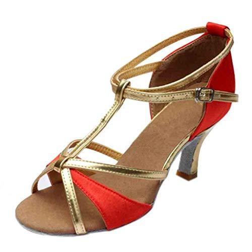 B-commerce Damen Mädchen Latin Dance Schuhe Satin Spike Heels Party Tango Salsa Schnalle Strap Aushöhlen Runde Kappe Mode Lässig Sandalen -