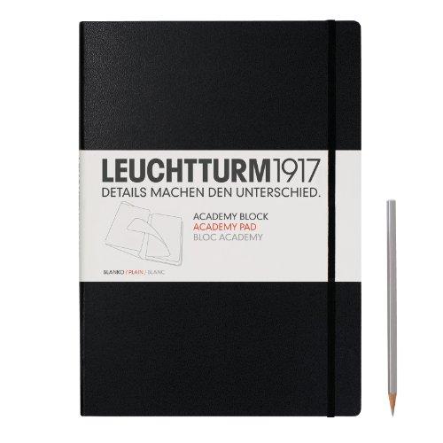 Leuchtturm1917 343492 Academy Block (DIN A4, 100 g/m² Papier, Lineatur: blanko, weitere Lineaturen auswählbar) 60 Bögen, schwarz -