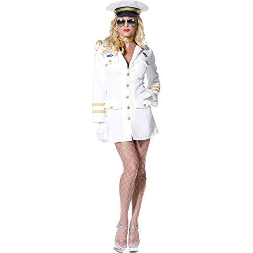 Pilotin Kostüm weiß M 40/42 Sexy Damenkostüm Pilotinkostüm Top Gun Flugkapitänin Marine Uniform Damen