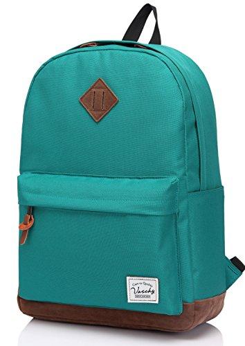 Zaino scuola, vaschy classico rucksack zaini vintage computer portatile borsa da viaggio per scuola zainetti per ragazzo adolescente (lago verde)