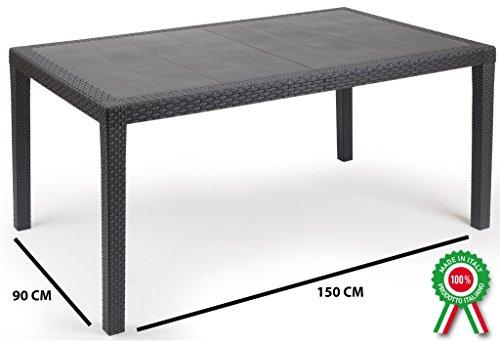 Prince Tisch, rechteckig, aus Kunstharz, Optik Rattan geflochten, schwarz anthrazit
