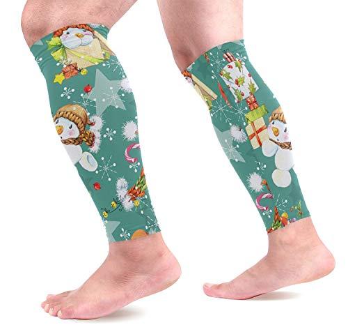 Weihnachten Schneemann Kalb Compression Sleeves Schienbeinschoner Unterstützung Beinschützer für Laufen, Radfahren, Reisen (1 Paar)