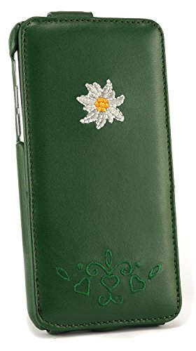 iPhone 6 flipcase Trachtenleather greenred/white clothstitches greenEdelweiss & Laub