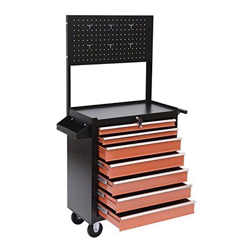 Homcom Werkstattwagen mit Lochplatte, 7 Schubladen, abschließbar