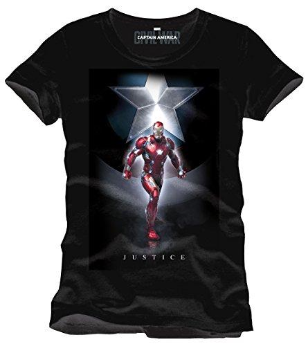 Iron Man Captain America Civil War - Justice T-Shirt schwarz (Schwarz Anzug Man Iron)