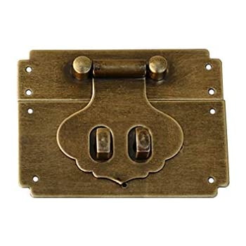 Tiazza 2Pcs Vintage Style Square Pure Brass Hasp Bronze Tone Antique Latch Jewelry Wood Box Catch Latch Hook Lock Hasp Decor