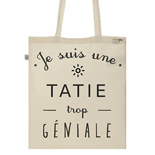 Tote Bag Imprimé Ecru - Toile en coton bio - Une Tatie trop géniale